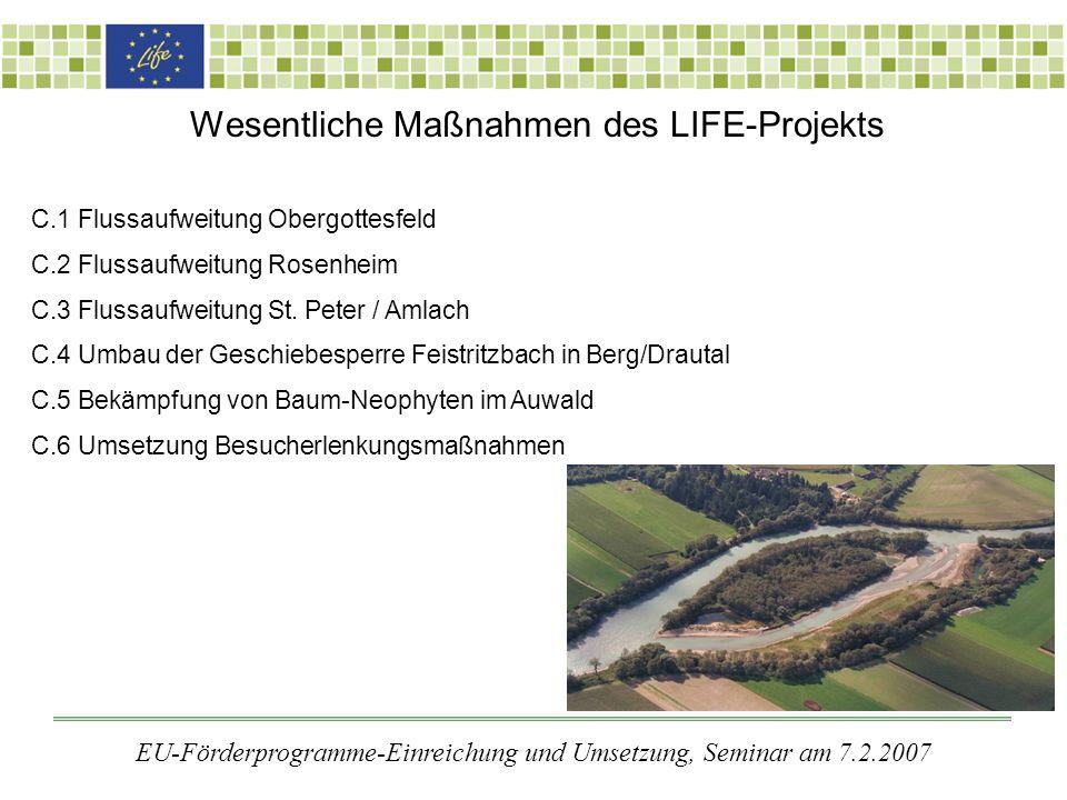 Wesentliche Maßnahmen des LIFE-Projekts C.1 Flussaufweitung Obergottesfeld C.2 Flussaufweitung Rosenheim C.3 Flussaufweitung St.