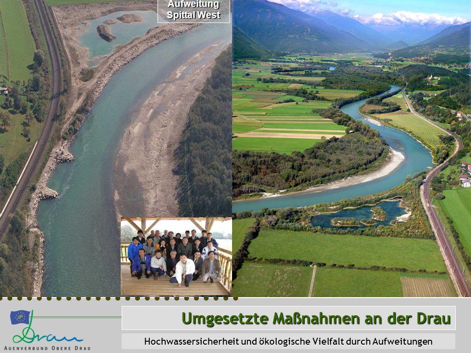 Umgesetzte Maßnahmen an der Drau Hochwassersicherheit und ökologische Vielfalt durch Aufweitungen Aufweitung Spittal West