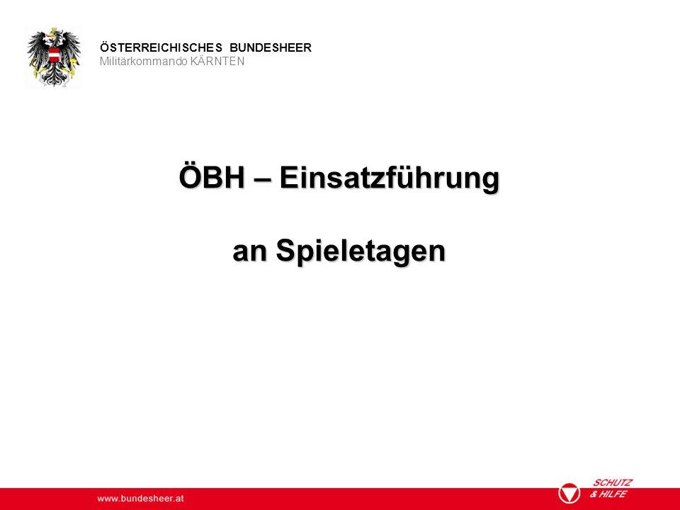 www.bundesheer.at ÖSTERREICHISCHES BUNDESHEER Militärkommando KÄRNTEN ÖBH – Einsatzführung an Spieletagen