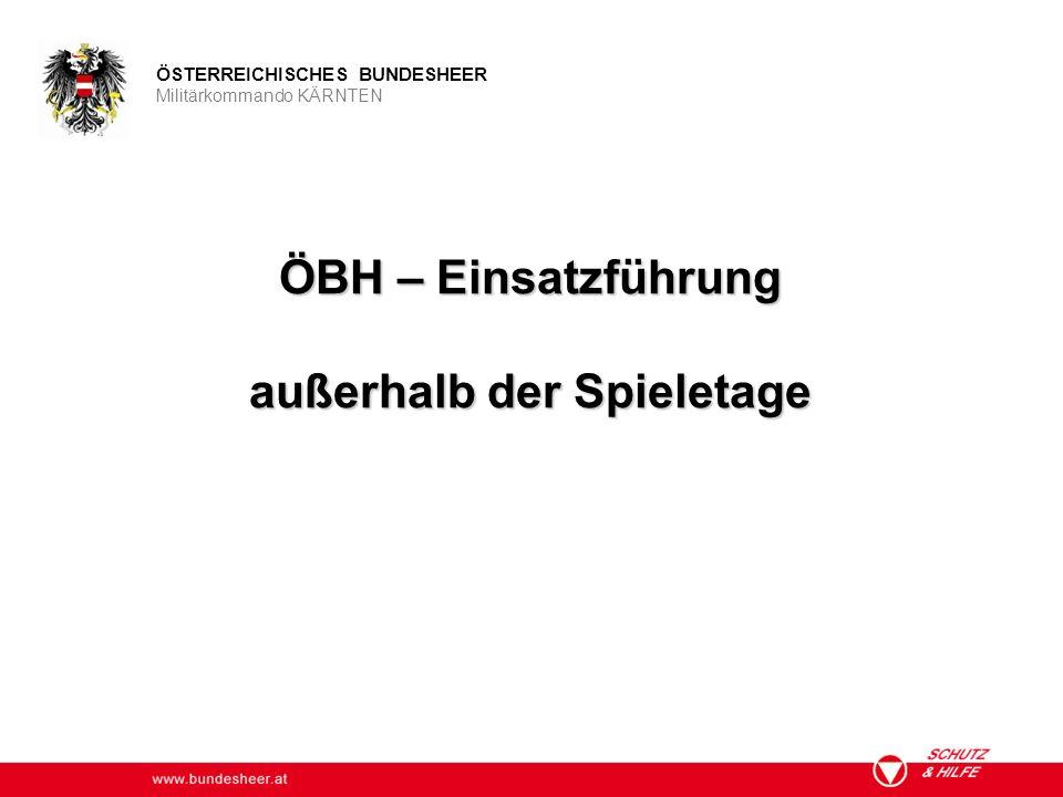 www.bundesheer.at ÖSTERREICHISCHES BUNDESHEER Militärkommando KÄRNTEN ÖBH – Einsatzführung außerhalb der Spieletage