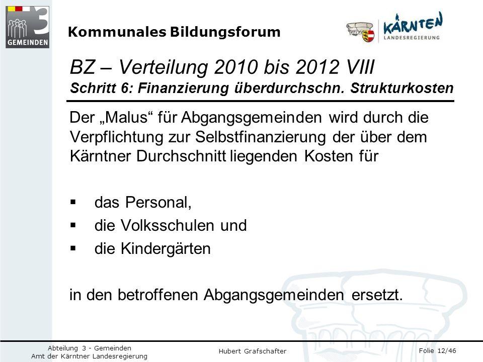 Kommunales Bildungsforum Folie 12/46 Abteilung 3 - Gemeinden Amt der Kärntner Landesregierung Hubert Grafschafter BZ – Verteilung 2010 bis 2012 VIII Schritt 6: Finanzierung überdurchschn.