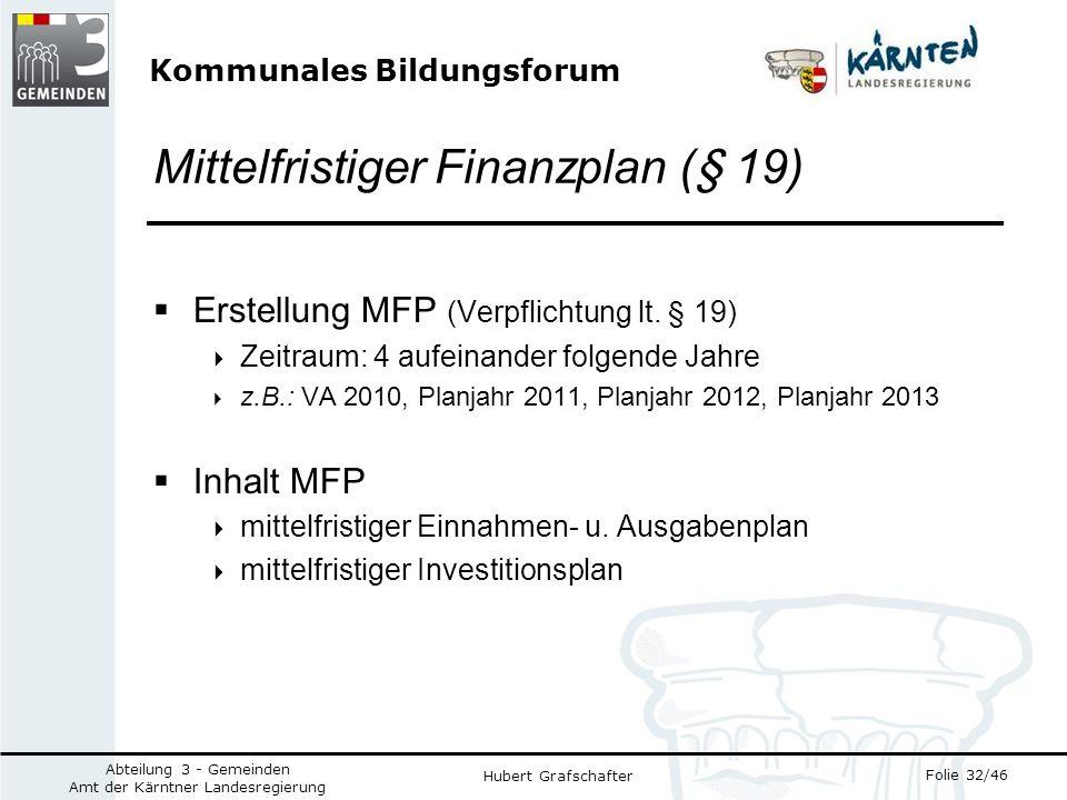 Kommunales Bildungsforum Folie 32/46 Abteilung 3 - Gemeinden Amt der Kärntner Landesregierung Hubert Grafschafter Mittelfristiger Finanzplan (§ 19) Erstellung MFP (Verpflichtung lt.