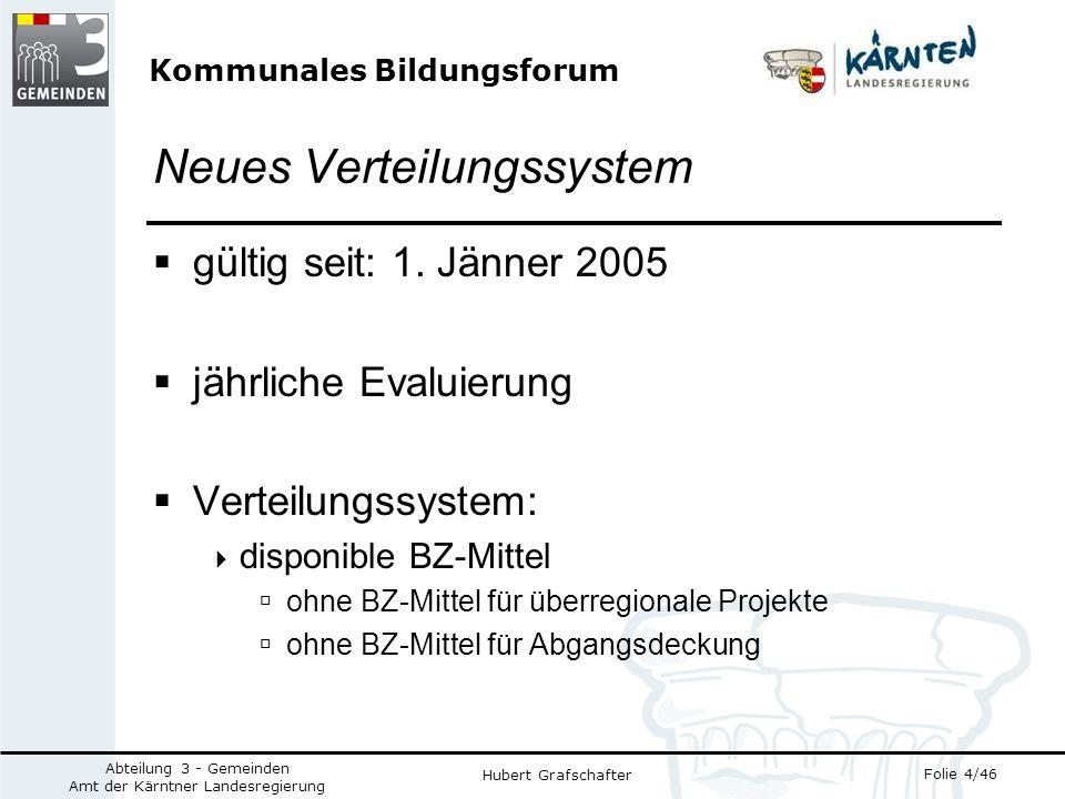 Kommunales Bildungsforum Folie 4/46 Abteilung 3 - Gemeinden Amt der Kärntner Landesregierung Hubert Grafschafter Neues Verteilungssystem gültig seit: 1.