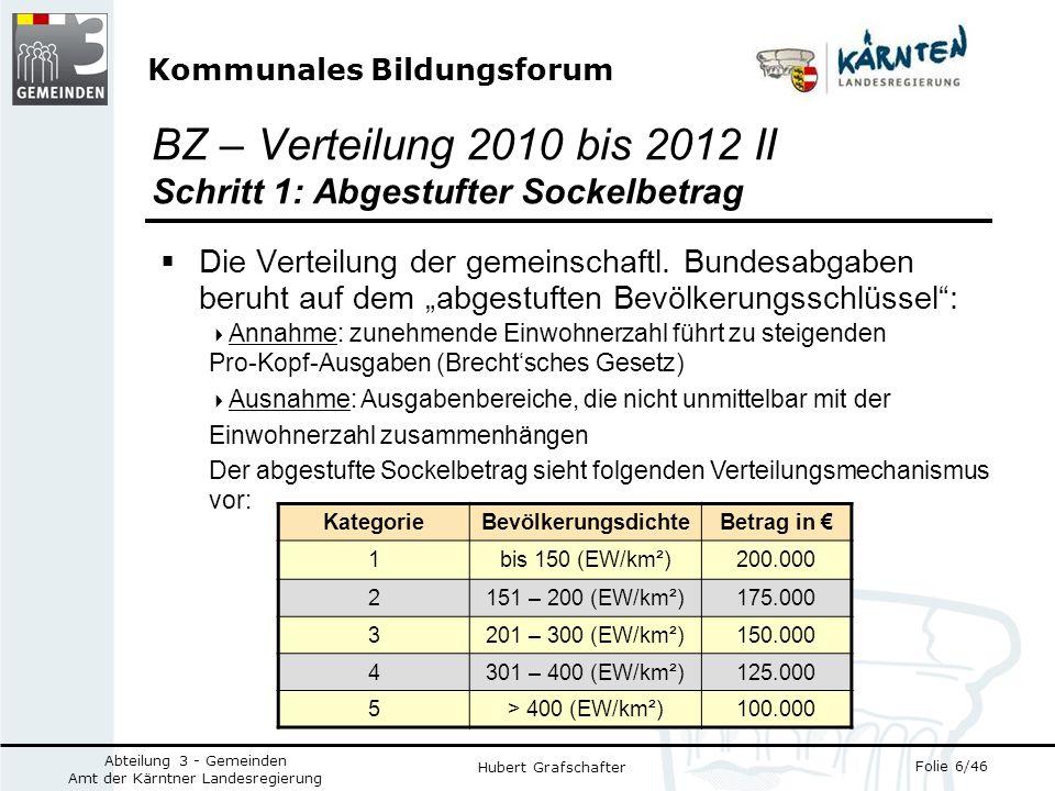 Kommunales Bildungsforum Folie 6/46 Abteilung 3 - Gemeinden Amt der Kärntner Landesregierung Hubert Grafschafter Die Verteilung der gemeinschaftl.