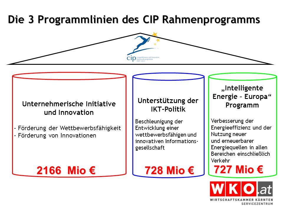 Die 3 Programmlinien des CIP Rahmenprogramms Unterstützung der IKT-Politik Beschleunigung der Entwicklung einer wettbewerbsfähigen und innovativen Inf