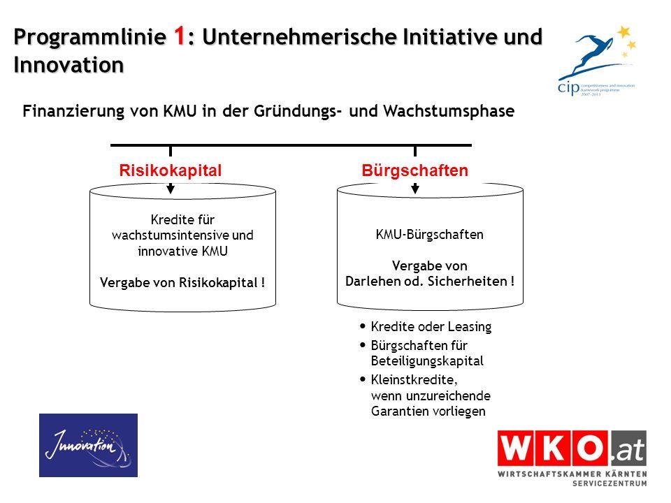 Programmlinie 1 : Unternehmerische Initiative und Innovation Kredite für wachstumsintensive und innovative KMU Vergabe von Risikokapital ! KMU-Bürgsch