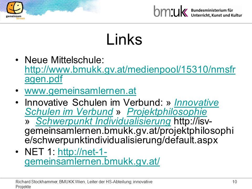 Richard Stockhammer, BMUKK Wien, Leiter der HS-Abteilung; innovative Projekte 10 Links Neue Mittelschule: http://www.bmukk.gv.at/medienpool/15310/nmsfr agen.pdf http://www.bmukk.gv.at/medienpool/15310/nmsfr agen.pdf www.gemeinsamlernen.at Innovative Schulen im Verbund: » Innovative Schulen im Verbund » Projektphilosophie » Schwerpunkt Individualisierung http://isv- gemeinsamlernen.bmukk.gv.at/projektphilosophi e/schwerpunktindividualisierung/default.aspxInnovative Schulen im VerbundProjektphilosophieSchwerpunkt Individualisierung NET 1: http://net-1- gemeinsamlernen.bmukk.gv.at/http://net-1- gemeinsamlernen.bmukk.gv.at/