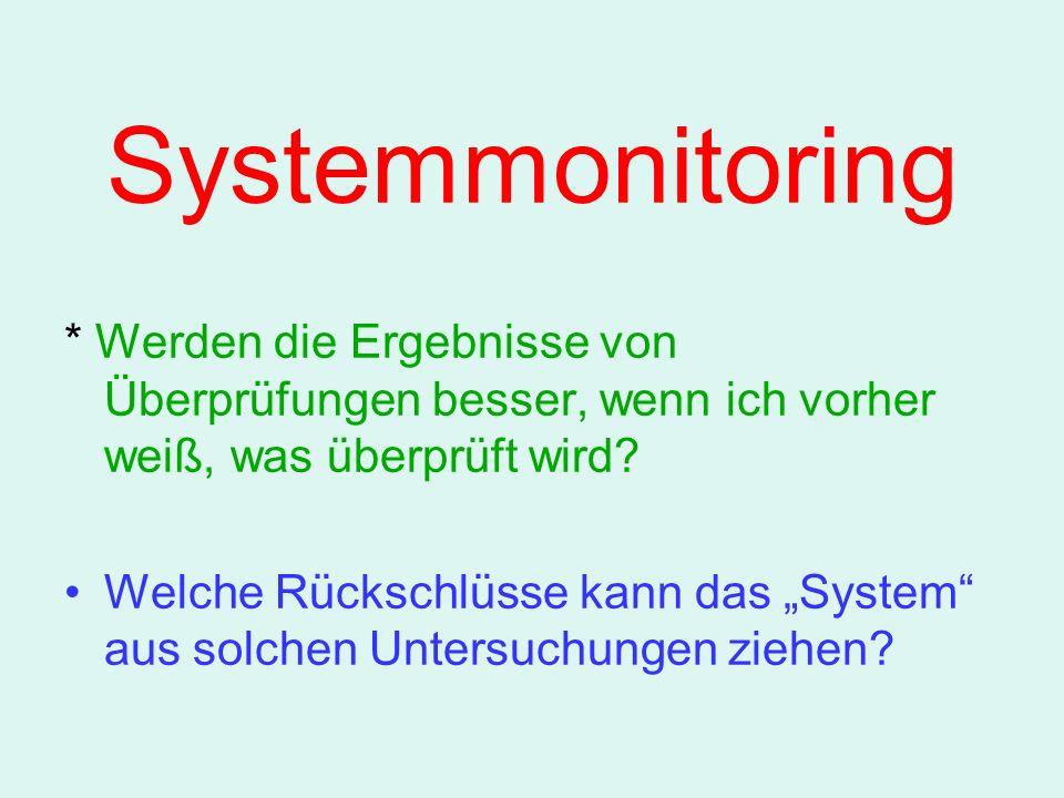 Systemmonitoring * Werden die Ergebnisse von Überprüfungen besser, wenn ich vorher weiß, was überprüft wird.