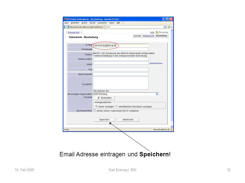 13. Feb 2009Karl Eckmayr, BSI12 Email Adresse eintragen und Speichern!