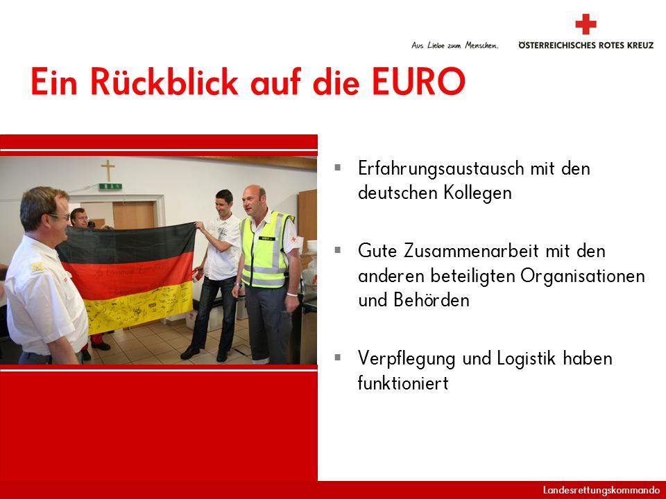 Landesrettungskommando Ein Rückblick auf die EURO Erfahrungsaustausch mit den deutschen Kollegen Gute Zusammenarbeit mit den anderen beteiligten Organisationen und Behörden Verpflegung und Logistik haben funktioniert