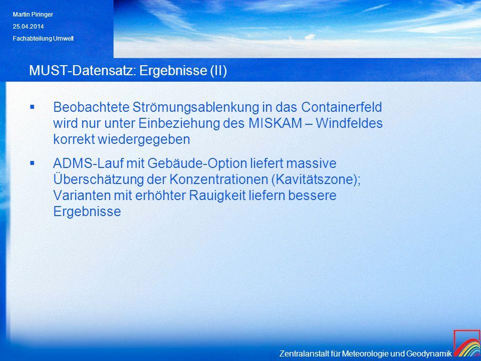 Zentralanstalt für Meteorologie und Geodynamik MUST-Datensatz: Ergebnisse (II) Beobachtete Strömungsablenkung in das Containerfeld wird nur unter Einb