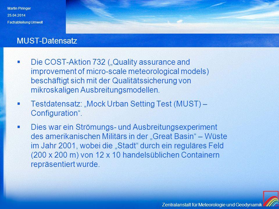 Zentralanstalt für Meteorologie und Geodynamik MUST-Datensatz: Ergebnisse (I) Die Modell-Läufe mit parallel zu den Längsseiten der Container orientiertem Koordinatensystem liefern deutlich bessere Ergebnisse als die Läufe im N-S Koordinatensystem.