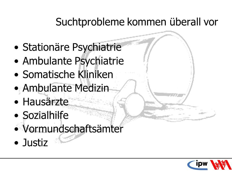 18 Suchtprobleme kommen überall vor Stationäre Psychiatrie Ambulante Psychiatrie Somatische Kliniken Ambulante Medizin Hausärzte Sozialhilfe Vormundsc