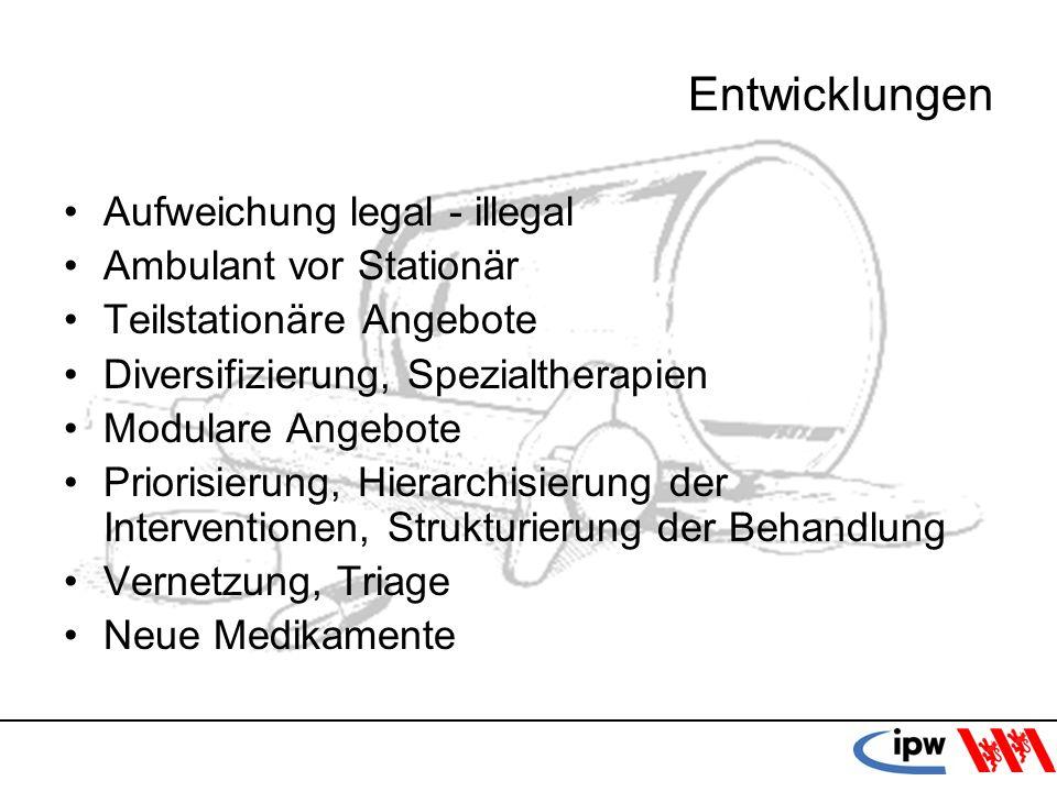 25 Entwicklungen Aufweichung legal - illegal Ambulant vor Stationär Teilstationäre Angebote Diversifizierung, Spezialtherapien Modulare Angebote Prior