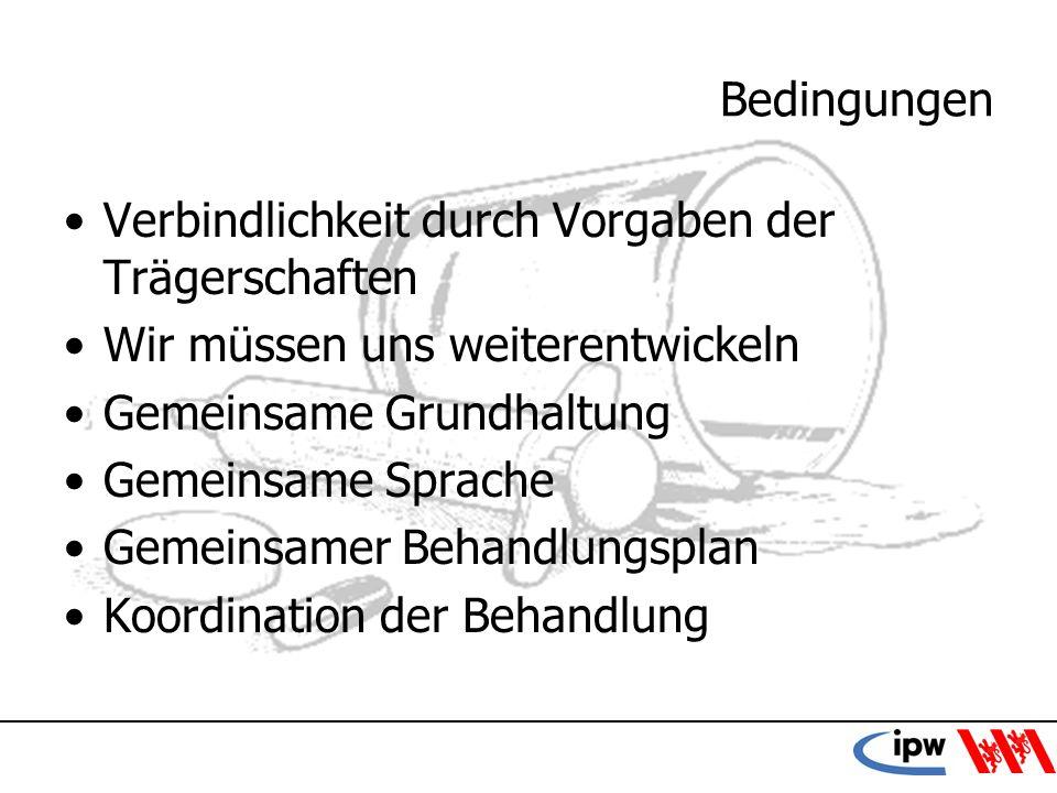43 Bedingungen Verbindlichkeit durch Vorgaben der Trägerschaften Wir müssen uns weiterentwickeln Gemeinsame Grundhaltung Gemeinsame Sprache Gemeinsame