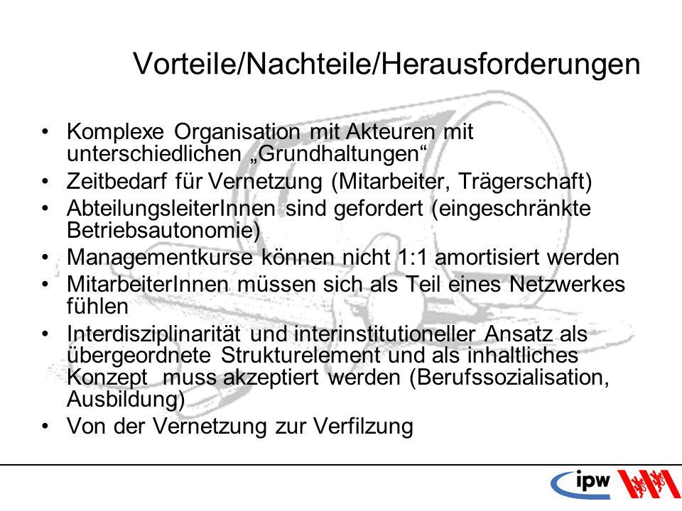 51 Vorteile/Nachteile/Herausforderungen Komplexe Organisation mit Akteuren mit unterschiedlichen Grundhaltungen Zeitbedarf für Vernetzung (Mitarbeiter