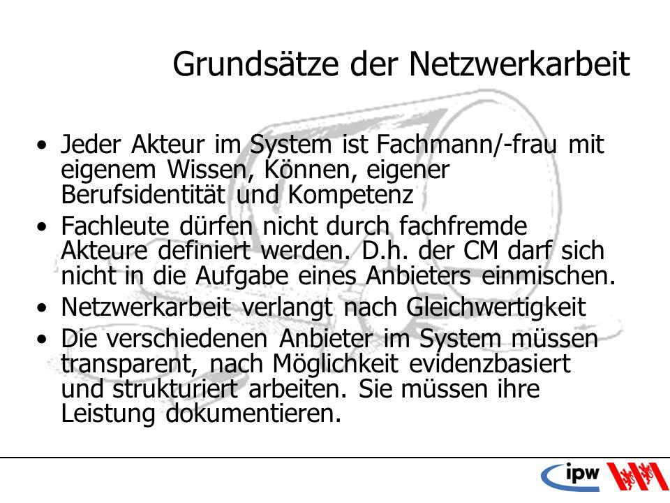 52 Grundsätze der Netzwerkarbeit Jeder Akteur im System ist Fachmann/-frau mit eigenem Wissen, Können, eigener Berufsidentität und Kompetenz Fachleute