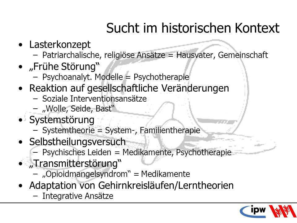 7 Sucht im historischen Kontext Lasterkonzept –Patriarchalische, religiöse Ansätze = Hausvater, Gemeinschaft Frühe Störung –Psychoanalyt. Modelle = Ps