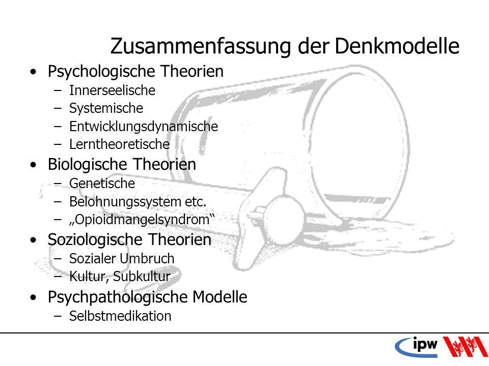8 Zusammenfassung der Denkmodelle Psychologische Theorien –Innerseelische –Systemische –Entwicklungsdynamische –Lerntheoretische Biologische Theorien