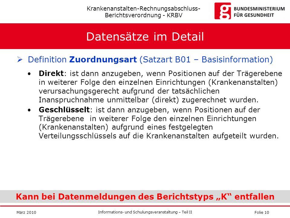 Folie 10 Informations- und Schulungsveranstaltung – Teil II März 2010 Datensätze im Detail Definition Zuordnungsart (Satzart B01 – Basisinformation) D