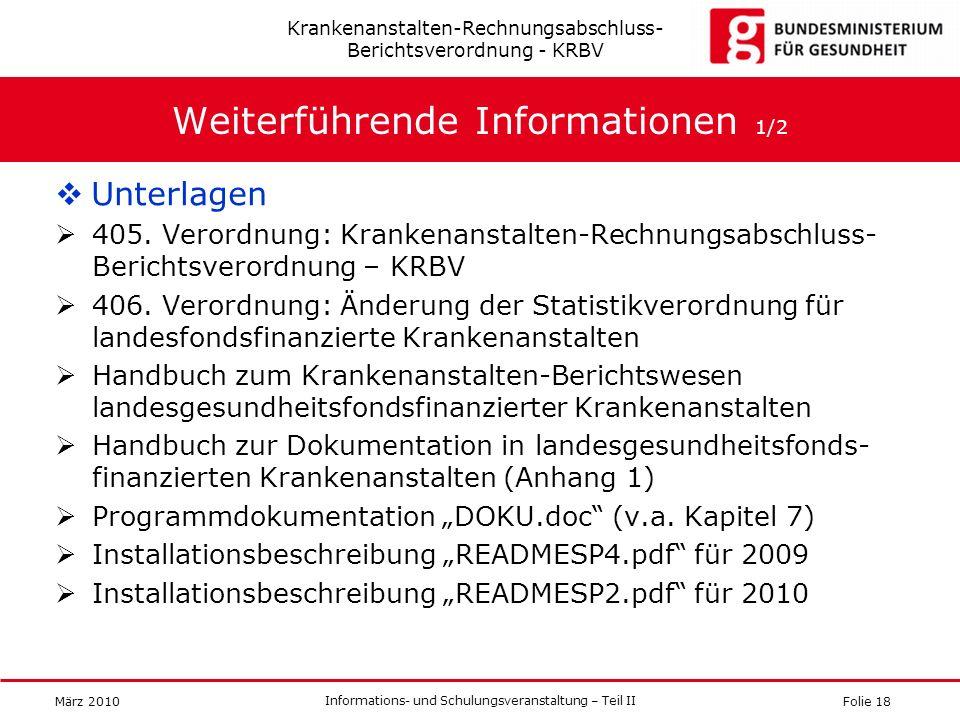 Folie 18 Informations- und Schulungsveranstaltung – Teil II März 2010 Weiterführende Informationen 1/2 Unterlagen 405. Verordnung: Krankenanstalten-Re