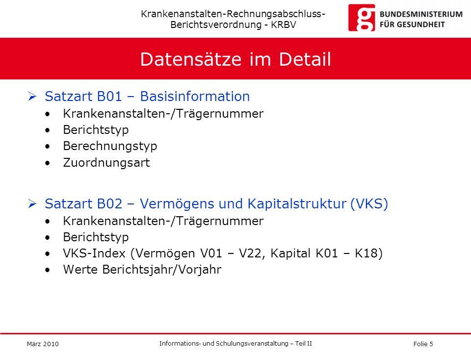 Folie 5 Informations- und Schulungsveranstaltung – Teil II März 2010 Datensätze im Detail Satzart B01 – Basisinformation Krankenanstalten-/Trägernumme