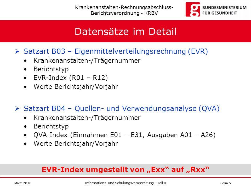 Folie 6 Informations- und Schulungsveranstaltung – Teil II März 2010 Datensätze im Detail Satzart B03 – Eigenmittelverteilungsrechnung (EVR) Krankenan