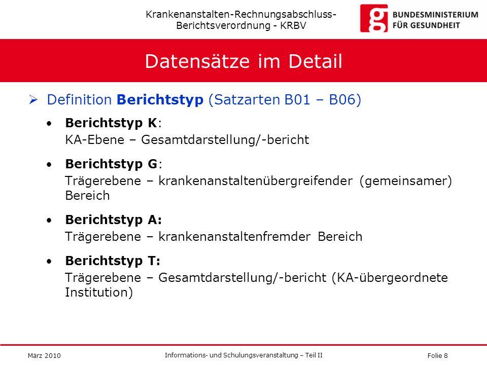 Folie 8 Informations- und Schulungsveranstaltung – Teil II März 2010 Datensätze im Detail Definition Berichtstyp (Satzarten B01 – B06) Berichtstyp K: