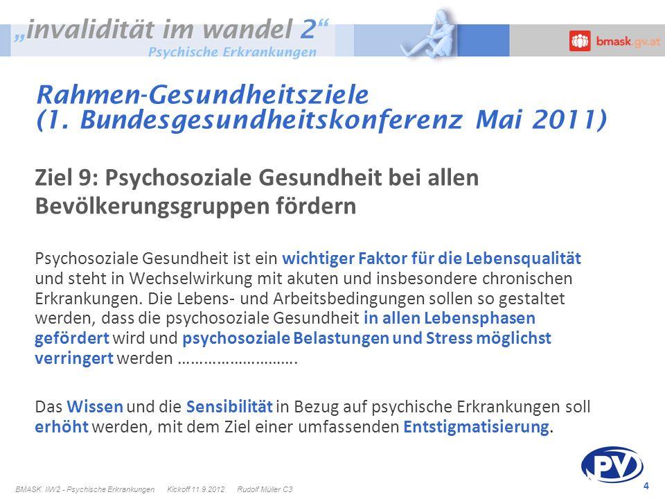 4 Rahmen-Gesundheitsziele (1. Bundesgesundheitskonferenz Mai 2011) Ziel 9: Psychosoziale Gesundheit bei allen Bevölkerungsgruppen fördern Psychosozial