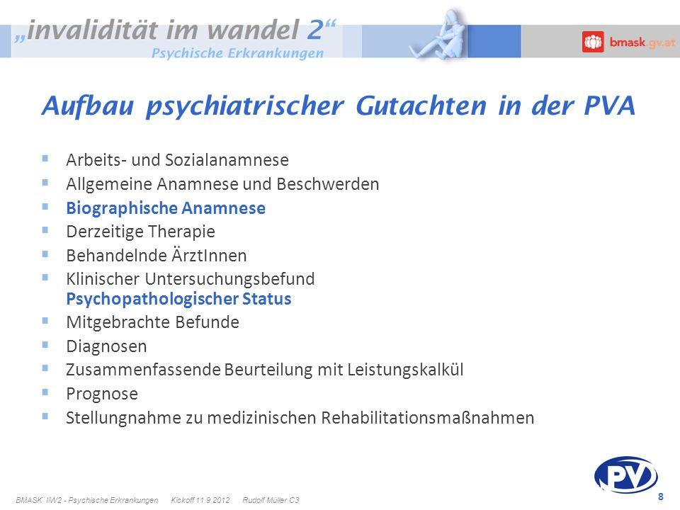 8 Aufbau psychiatrischer Gutachten in der PVA Arbeits- und Sozialanamnese Allgemeine Anamnese und Beschwerden Biographische Anamnese Derzeitige Therap