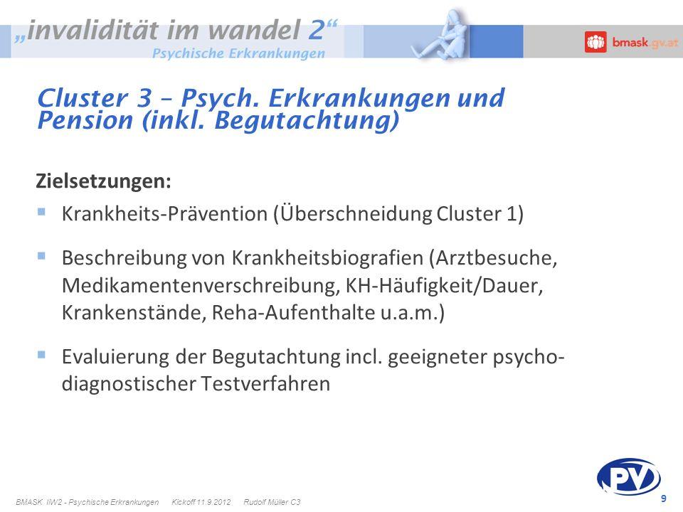 9 Cluster 3 – Psych. Erkrankungen und Pension (inkl. Begutachtung) Zielsetzungen: Krankheits-Prävention (Überschneidung Cluster 1) Beschreibung von Kr