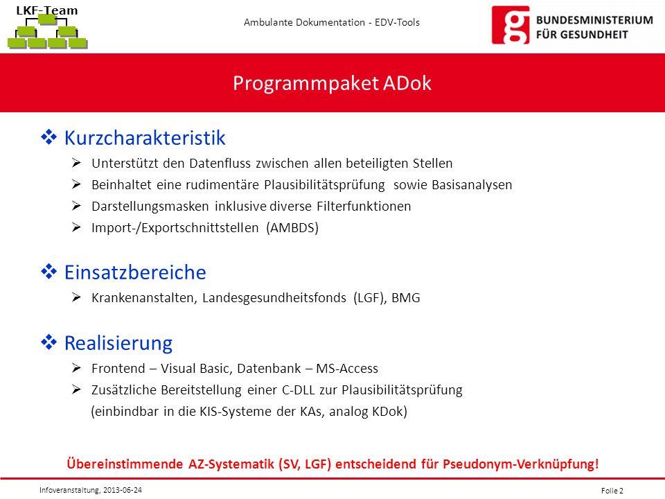 Folie 2 Ambulante Dokumentation - EDV-Tools Infoveranstaltung, 2013-06-24 LKF-Team Programmpaket ADok Kurzcharakteristik Unterstützt den Datenfluss zw
