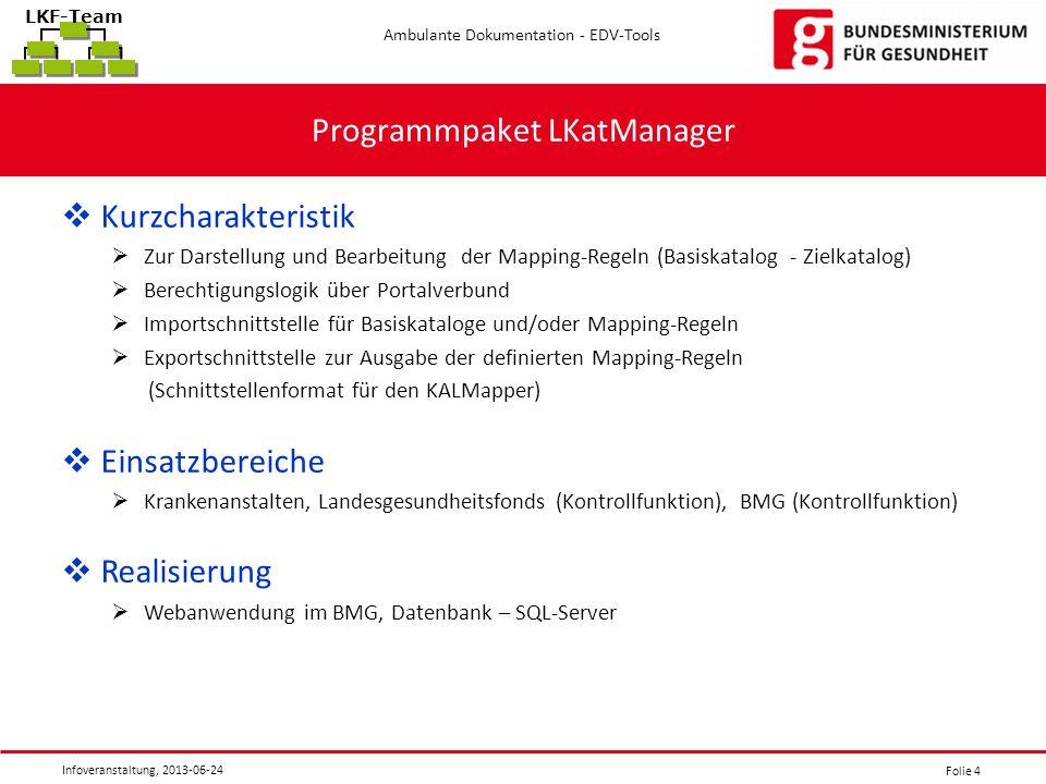 Folie 4 Ambulante Dokumentation - EDV-Tools Infoveranstaltung, 2013-06-24 LKF-Team Programmpaket LKatManager Kurzcharakteristik Zur Darstellung und Be