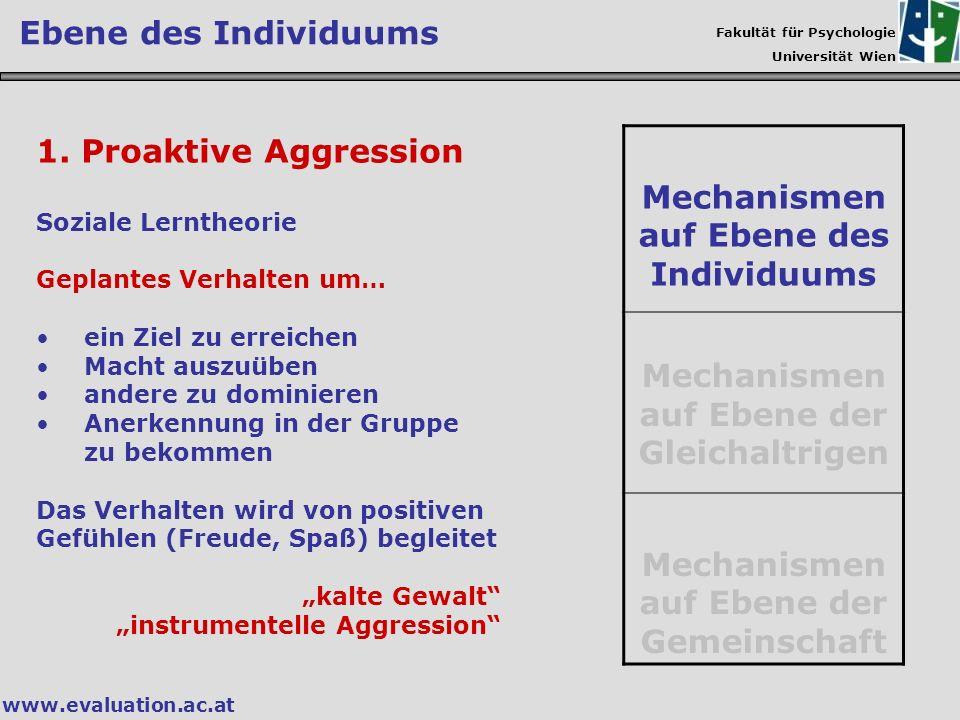 Fakultät für Psychologie Universität Wien www.evaluation.ac.at Ebene des Individuums 1. Proaktive Aggression Soziale Lerntheorie Geplantes Verhalten u