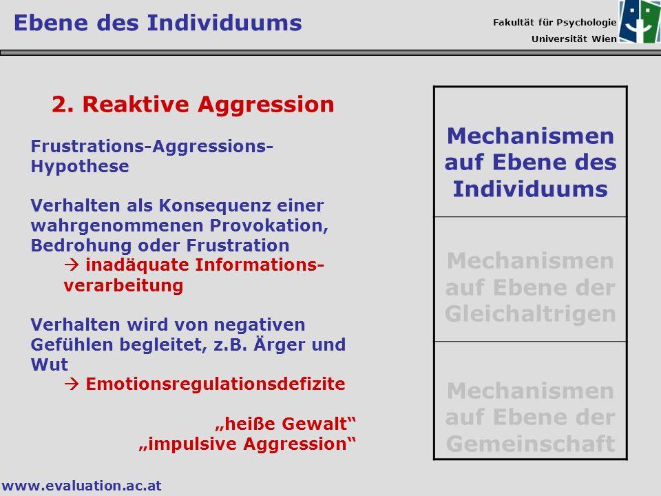 Fakultät für Psychologie Universität Wien www.evaluation.ac.at 2. Reaktive Aggression Frustrations-Aggressions- Hypothese Verhalten als Konsequenz ein