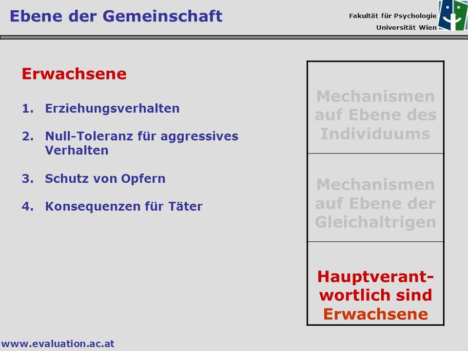 Fakultät für Psychologie Universität Wien www.evaluation.ac.at Ebene der Gemeinschaft Mechanismen auf Ebene des Individuums Mechanismen auf Ebene der