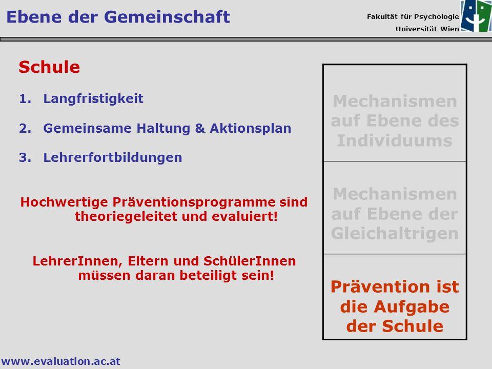 Fakultät für Psychologie Universität Wien www.evaluation.ac.at Schule 1.Langfristigkeit 2.Gemeinsame Haltung & Aktionsplan 3.Lehrerfortbildungen Hochw