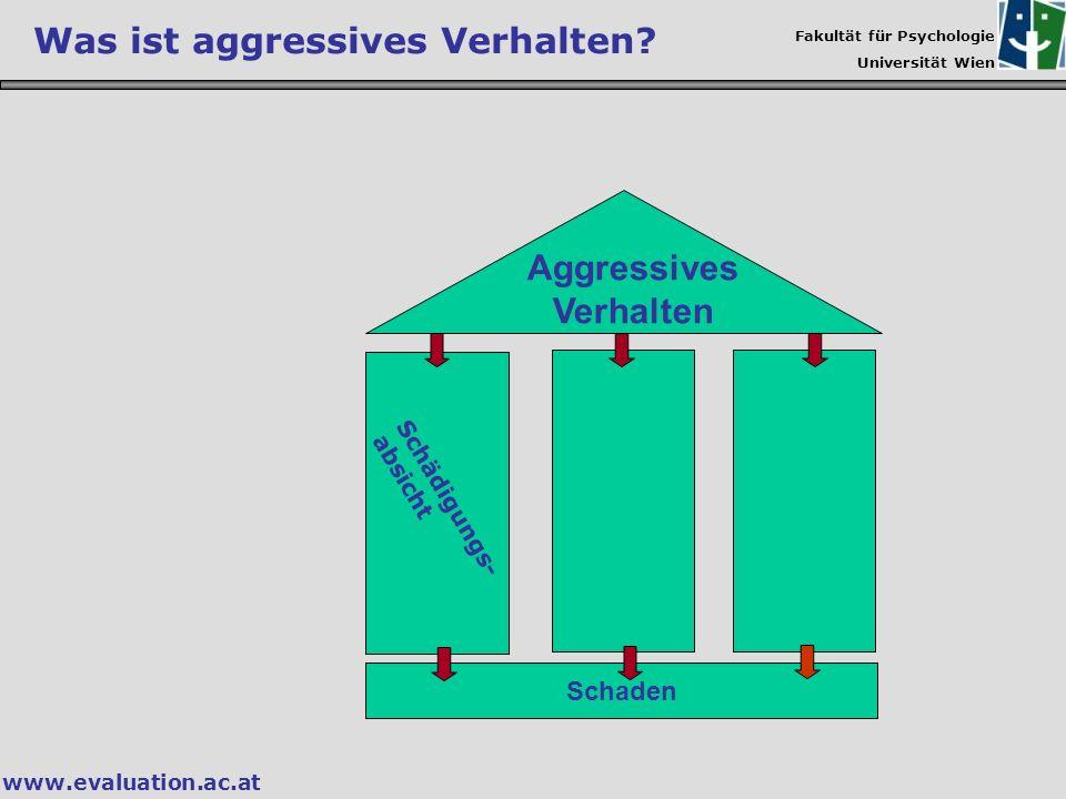 Fakultät für Psychologie Universität Wien www.evaluation.ac.at Aggressives Verhalten Schaden Was ist aggressives Verhalten? Schädigungs- absicht