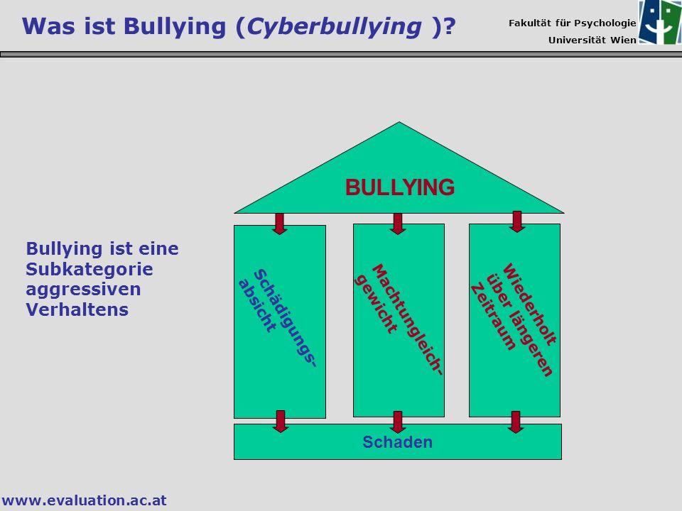 Fakultät für Psychologie Universität Wien www.evaluation.ac.at BULLYING Schaden Bullying ist eine Subkategorie aggressiven Verhaltens Was ist Bullying