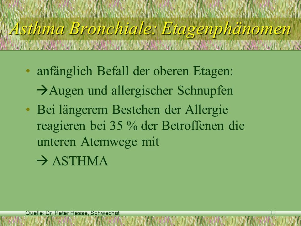 Quelle: Dr. Peter Hesse, Schwechat 11 Asthma Bronchiale: Etagenphänomen anfänglich Befall der oberen Etagen: Augen und allergischer Schnupfen Bei läng