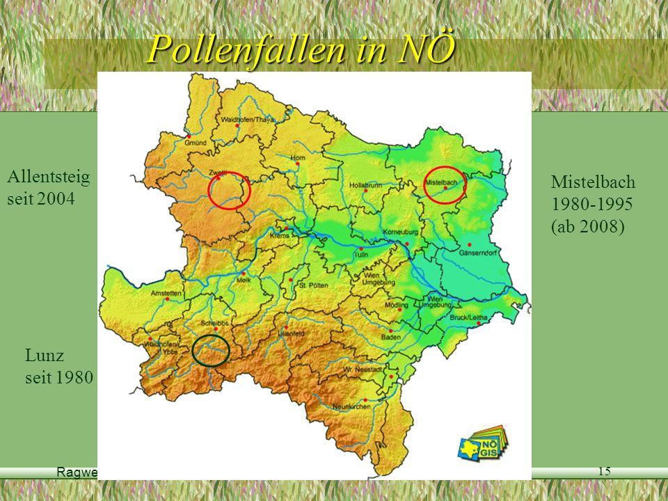 Ragweed Fachtagung, 11.September 2007 15 Pollenfallen in NÖ Allentsteig seit 2004 Mistelbach 1980-1995 (ab 2008) Lunz seit 1980