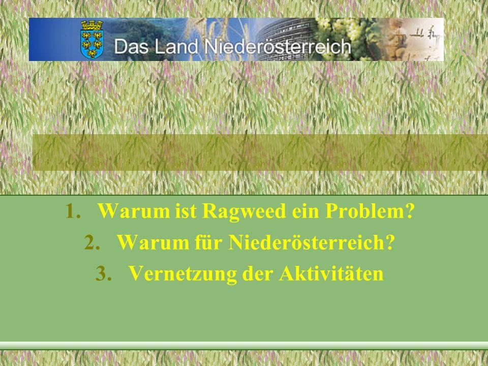 1.Warum ist Ragweed ein Problem? 2.Warum für Niederösterreich? 3.Vernetzung der Aktivitäten