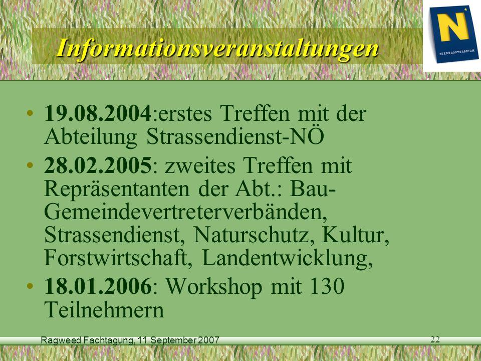 Ragweed Fachtagung, 11.September 2007 22 Informationsveranstaltungen 19.08.2004:erstes Treffen mit der Abteilung Strassendienst-NÖ 28.02.2005: zweites