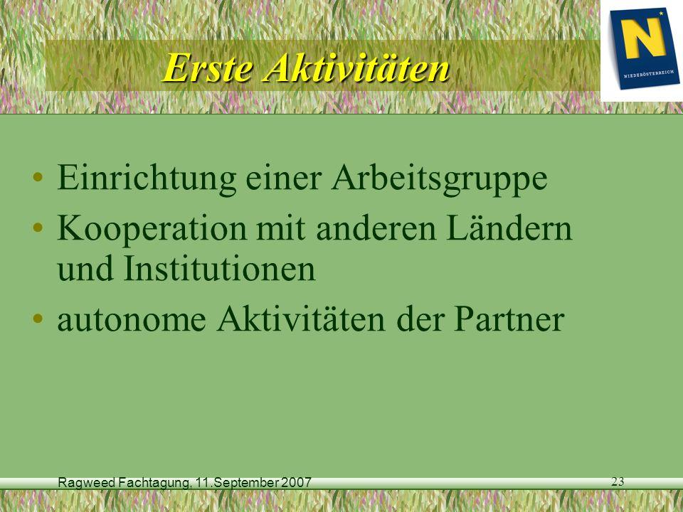 Ragweed Fachtagung, 11.September 2007 23 Erste Aktivitäten Einrichtung einer Arbeitsgruppe Kooperation mit anderen Ländern und Institutionen autonome