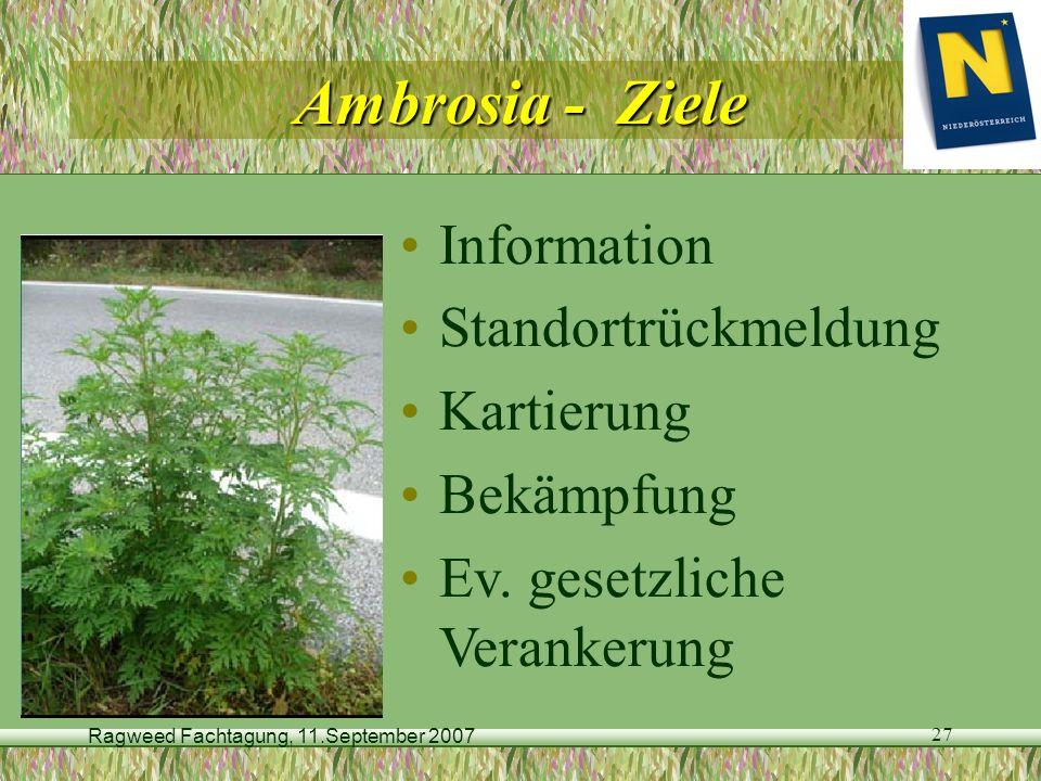 Ragweed Fachtagung, 11.September 2007 27 Ambrosia - Ziele Information Standortrückmeldung Kartierung Bekämpfung Ev. gesetzliche Verankerung