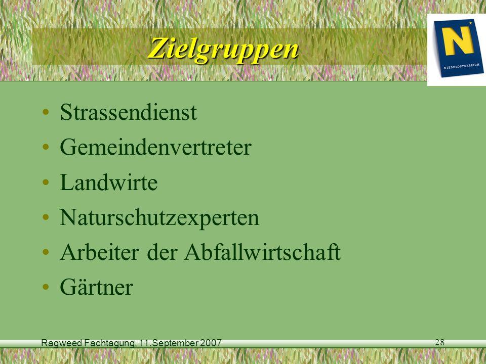 Ragweed Fachtagung, 11.September 2007 28 Zielgruppen Strassendienst Gemeindenvertreter Landwirte Naturschutzexperten Arbeiter der Abfallwirtschaft Gär
