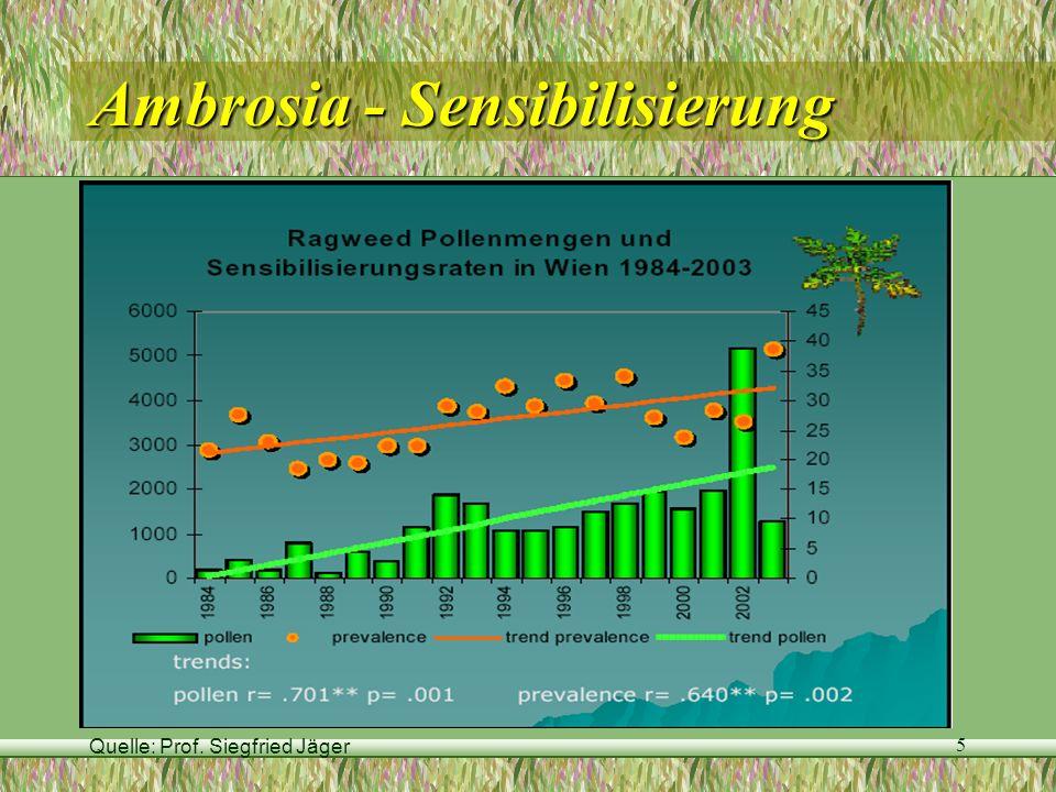 Quelle: Prof. Siegfried Jäger 5 Ambrosia - Sensibilisierung
