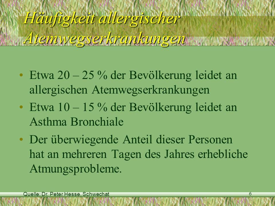 Ragweed Fachtagung, 11.September 2007 17 Tage mit Pollenbelastung 1977 - 2006 10.-17.Aug.