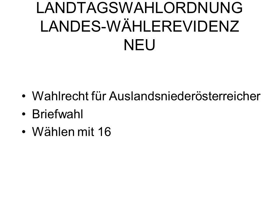 LANDTAGSWAHLORDNUNG LANDES-WÄHLEREVIDENZ NEU Wahlrecht für Auslandsniederösterreicher Briefwahl Wählen mit 16