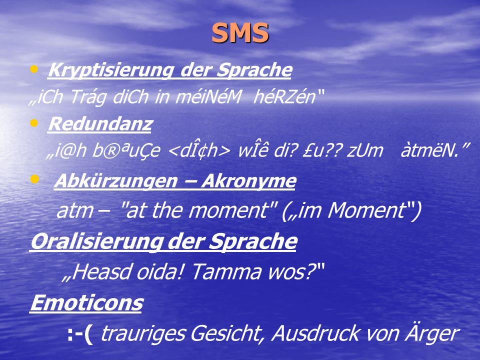SMS Kryptisierung der Sprache iCh Trág diCh in méiNéM héRZén Redundanz i@h b®ªuÇe wÎê di? £u?? zUm àtmëN. Abkürzungen – Akronyme atm –